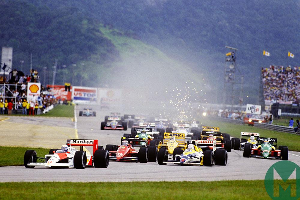 Alain Prost leads the 1988 Brazilian GP in his McLaren MP4/4