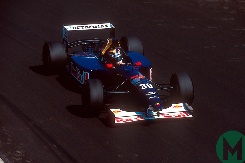 Heinz-Harald Frentzen in the Sauber on the way to third place in the 1995 Italian GP