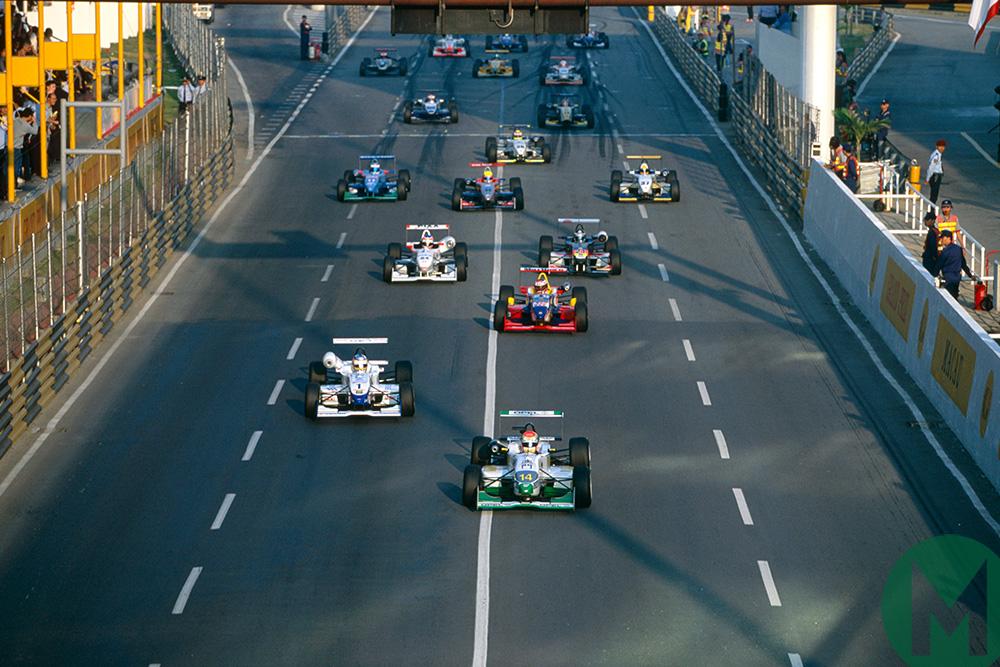 Jenson Button leads the 1999 Macau Grand Prix