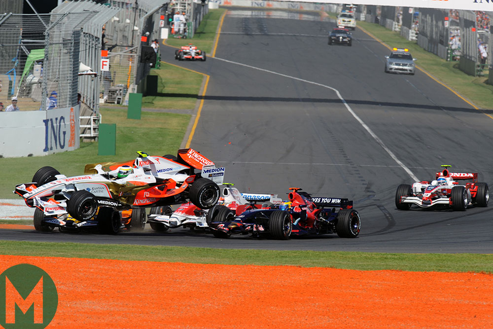 Giancarlo Fisichella crash 2008 Australian F1 GP