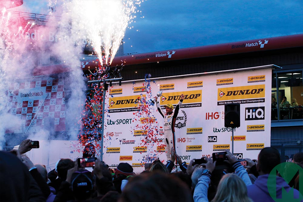Colin Turkington celebrates winning the 2018 BTCC title