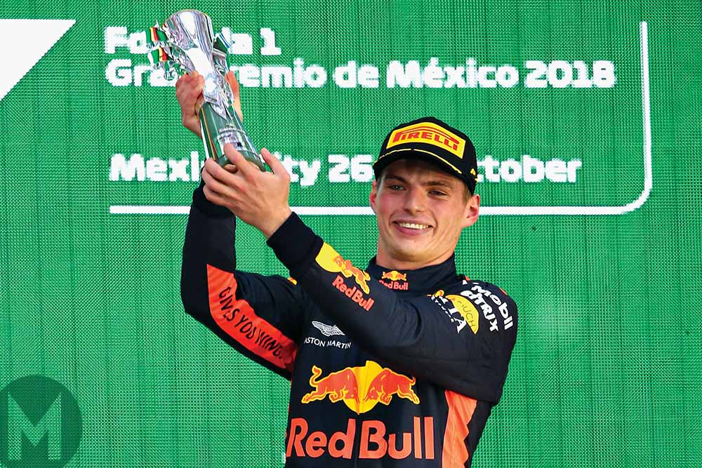 Race-winner Max Verstappen on the podium at the 2018 Mexican Grand Prix