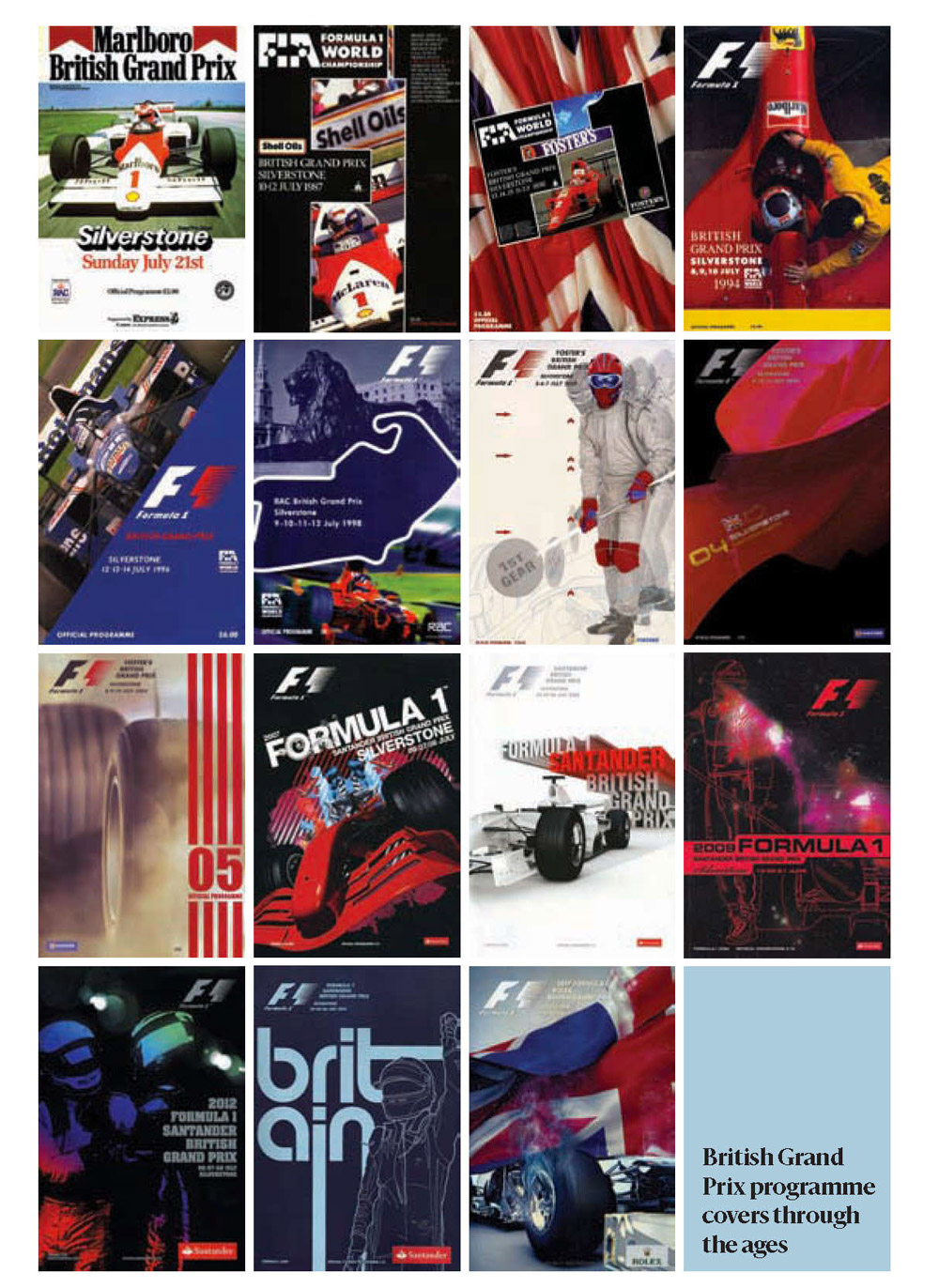 British GP posters throughout the years