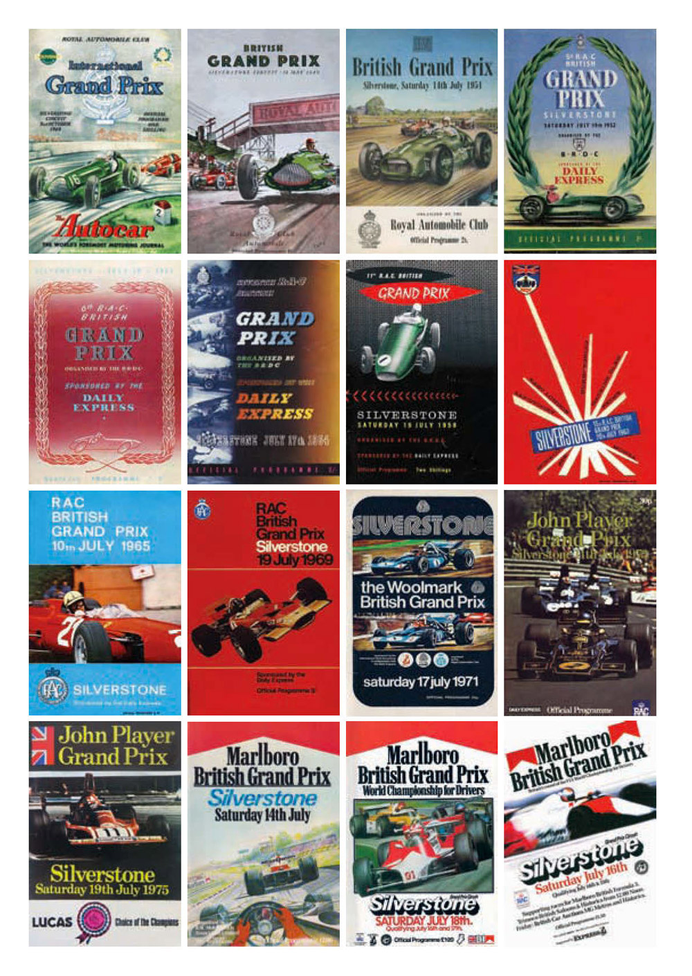 British Grand Prix posters throughout the ages