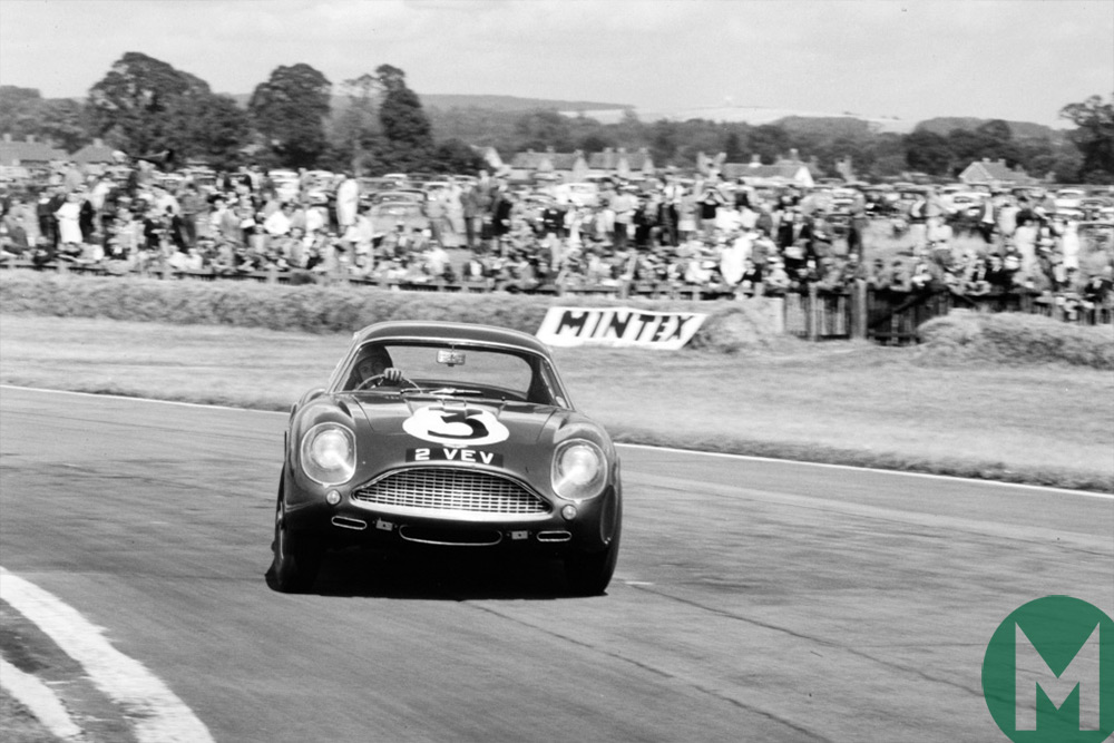 Jim Clark drifting Aston Martin 2 VEV at Goodwood in 1961