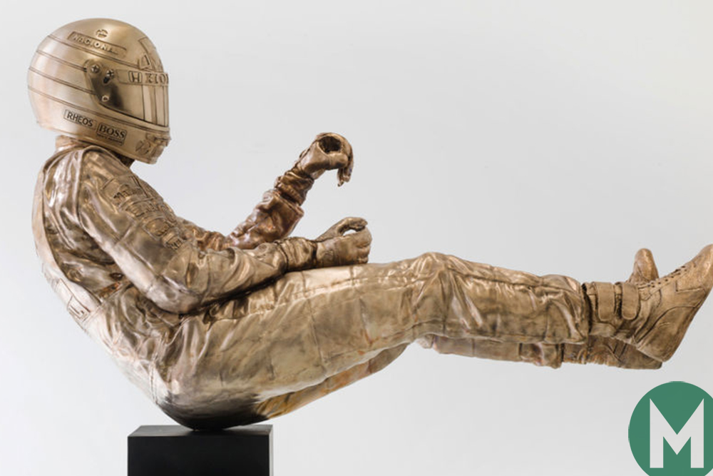 The highly-detailed life size Ayrton Senna bronze statue