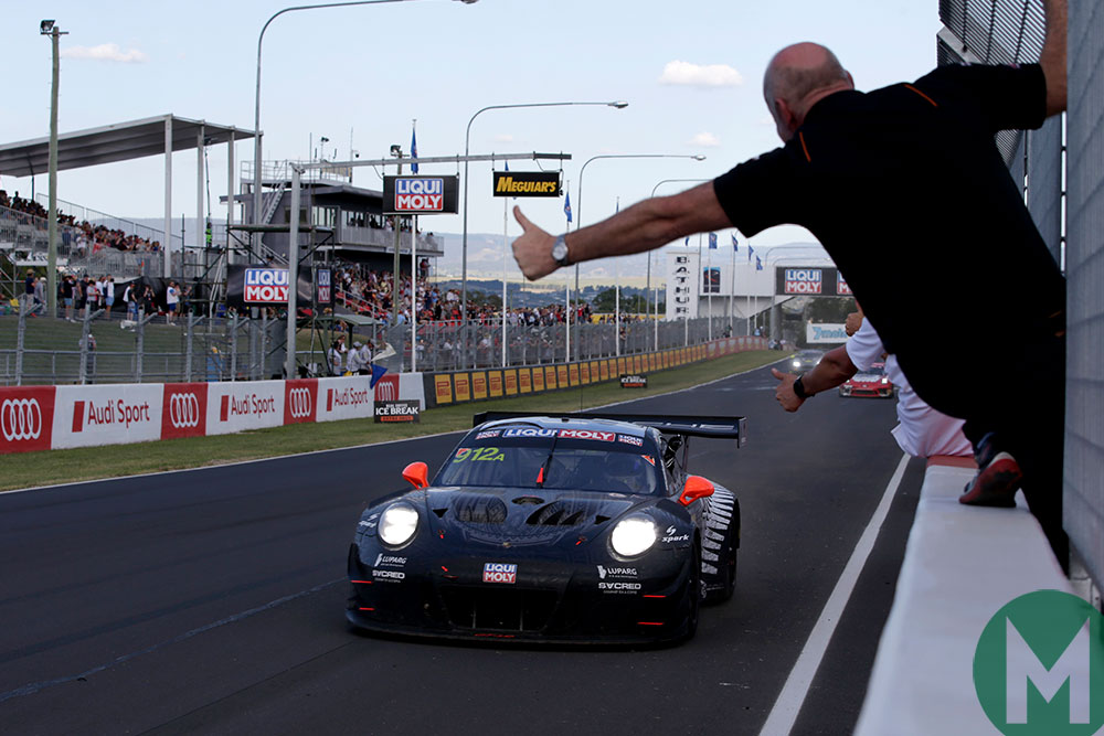 Matt Campbell in the Porsche wins the 2019 Bathurst 12 Hour
