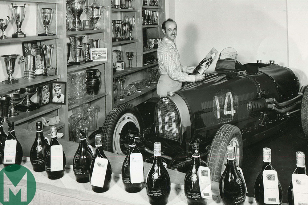 Maurice Trintignant with the Bugatti Type 51 in his living room