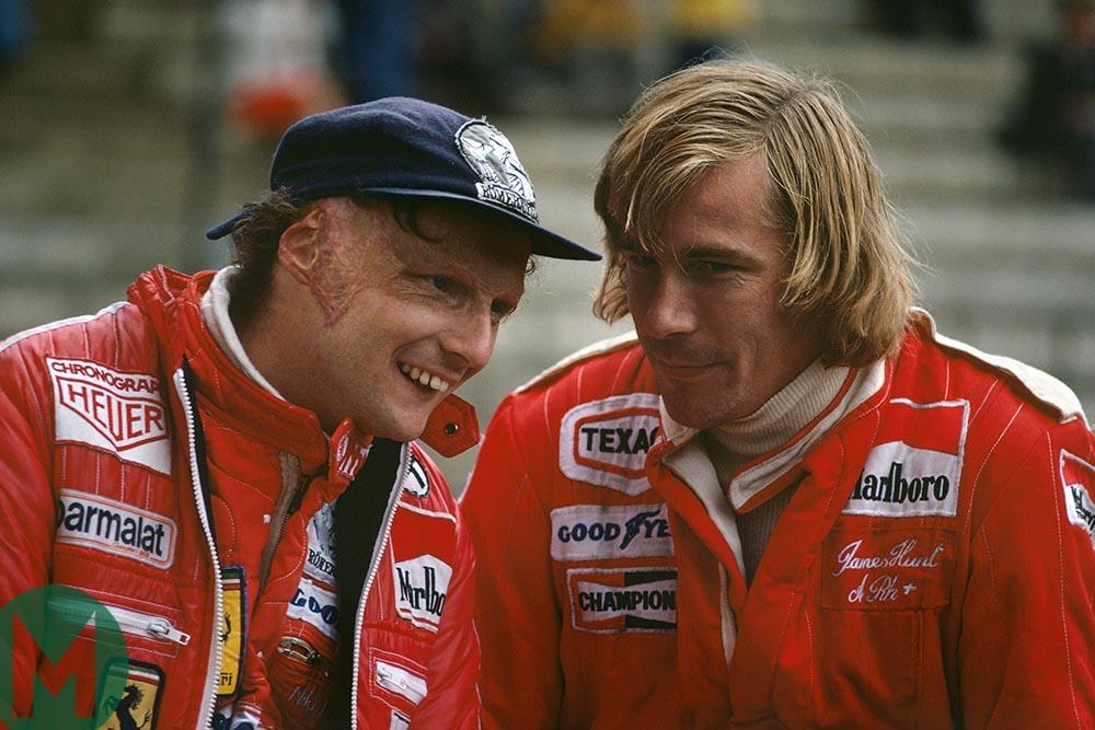 Niki Lauda and James Hunt at the 1977 Belgian Grand Prix