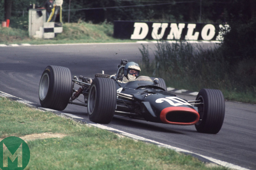 Piers Courage, BRM, in the 1968 British Grand Prix at Brands Hatch