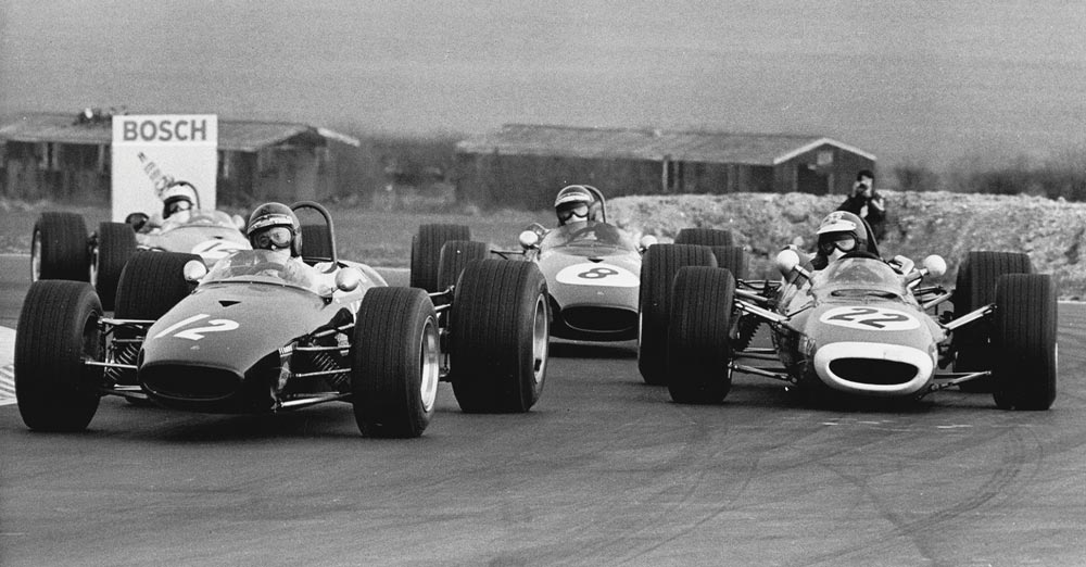 Piers Courage, Jean-Pierre Beltoise and Jochen Rindt at Thruxton, 1968