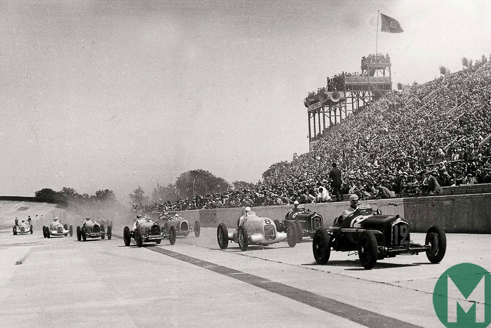 Louis Chiron and Achille Varzi in Alfas take on Rudolf Caracciola in a Mercedes in the 1934 French GP