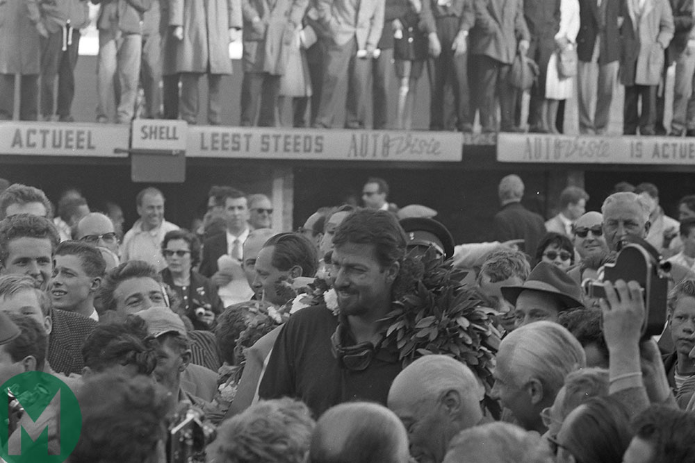 Jo Bonnier celebrates victory after the 1959 Dutch Grand Prix
