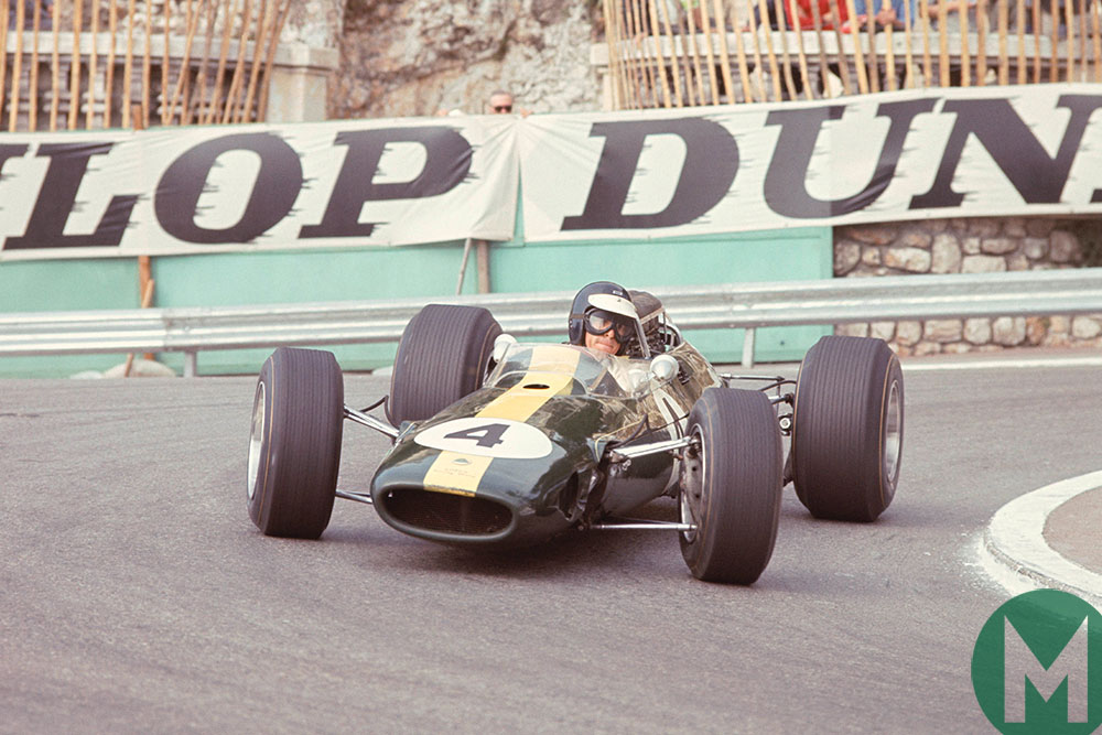 Jim Clark rounds Station Hairpin in the 1966 Monaco Grand Prix