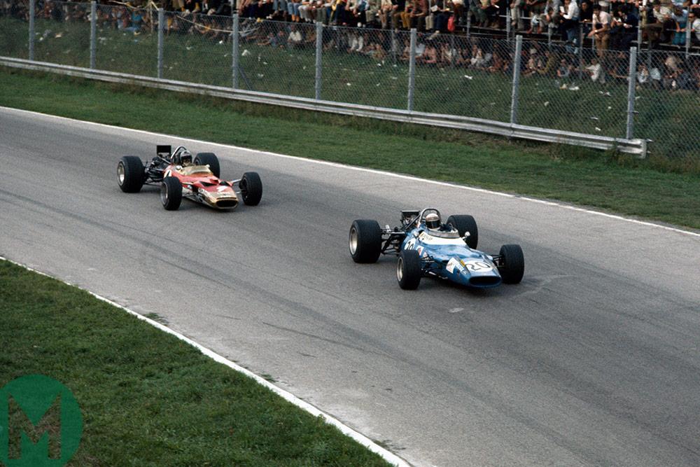 1969 Italian GP Stewart leads Rindt