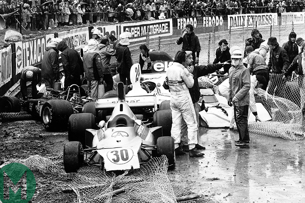 A multi-car pile-up that ended the 1975 British Grand Prix early