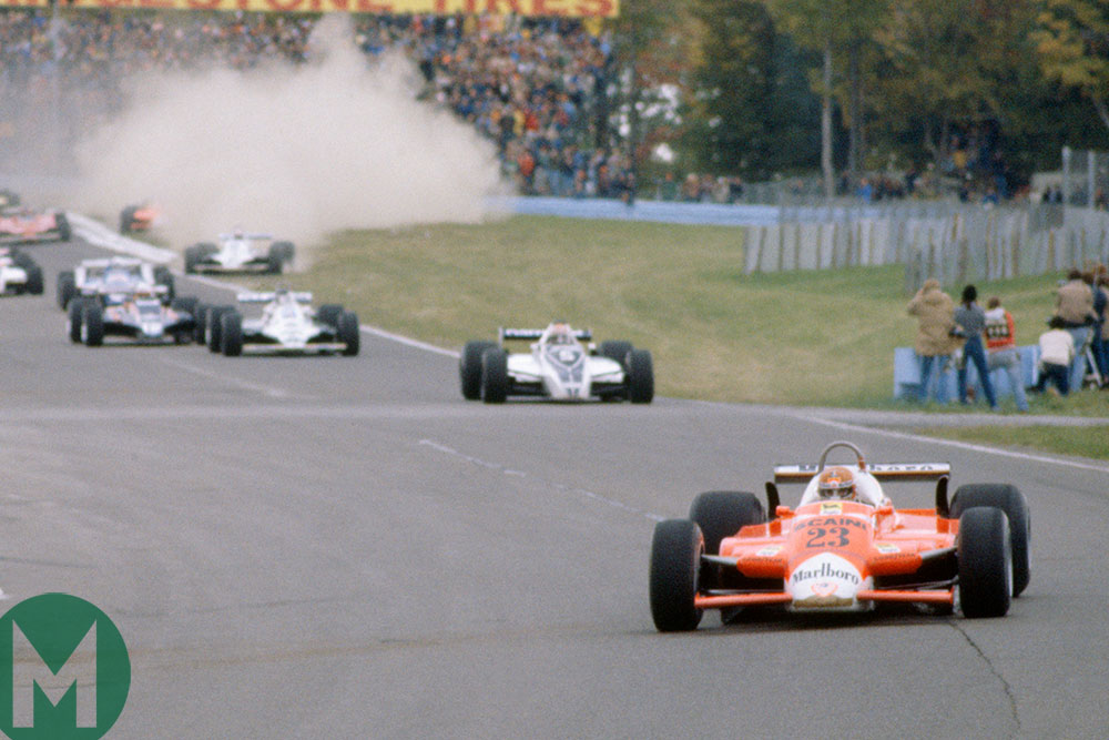 Bruno Giacomelli leads the 1980 US Grand Prix at Watkins Glen from pole