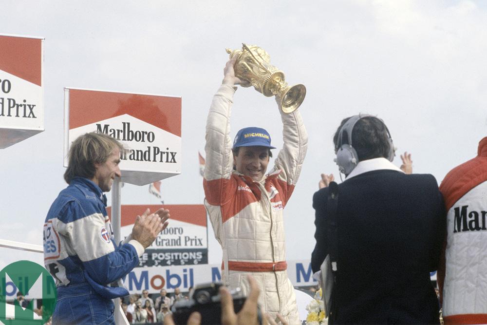 John Watson, podium, 1981 British GP
