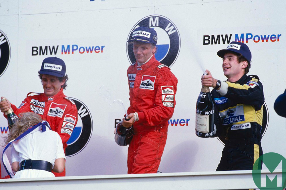 Niki Lauda, Alain Prost and Ayrton Senna on the Zandvoor podium in 1985