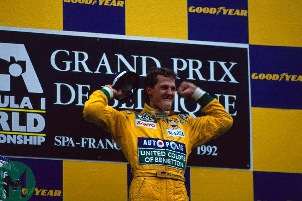 Schumacher celebrates 1992 Belgian GP win