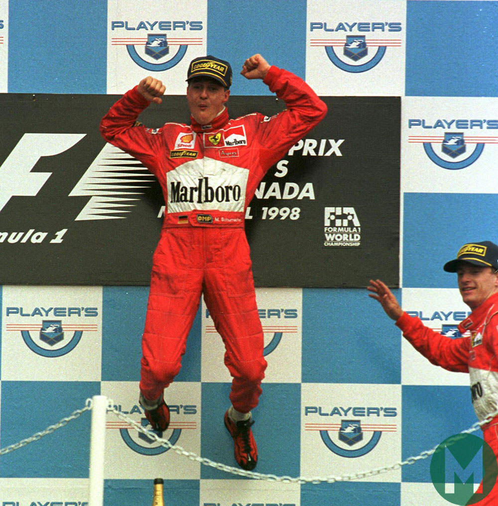 Schumacher celebrates 2003 Canadian GP win