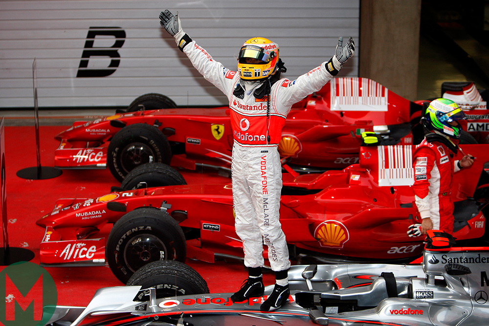 2008 Brazilian Grand Prix Hamilton celebrates