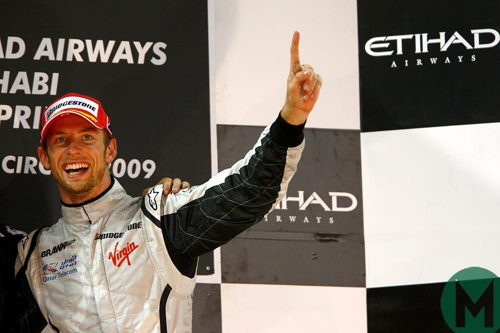 Jenson Button celebrates 2009 title