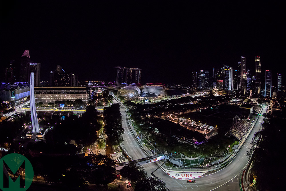 An aerial shot of the Singapore night race from 2016