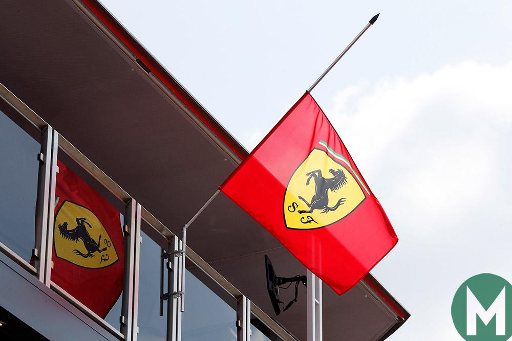 Ferrari flag flies at half-mast, 2018 Hungarian Grand Prix