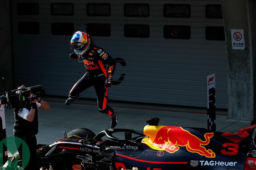 Daniel Ricciardo celebrates winning the Formula 1 Chinese Grand Prix
