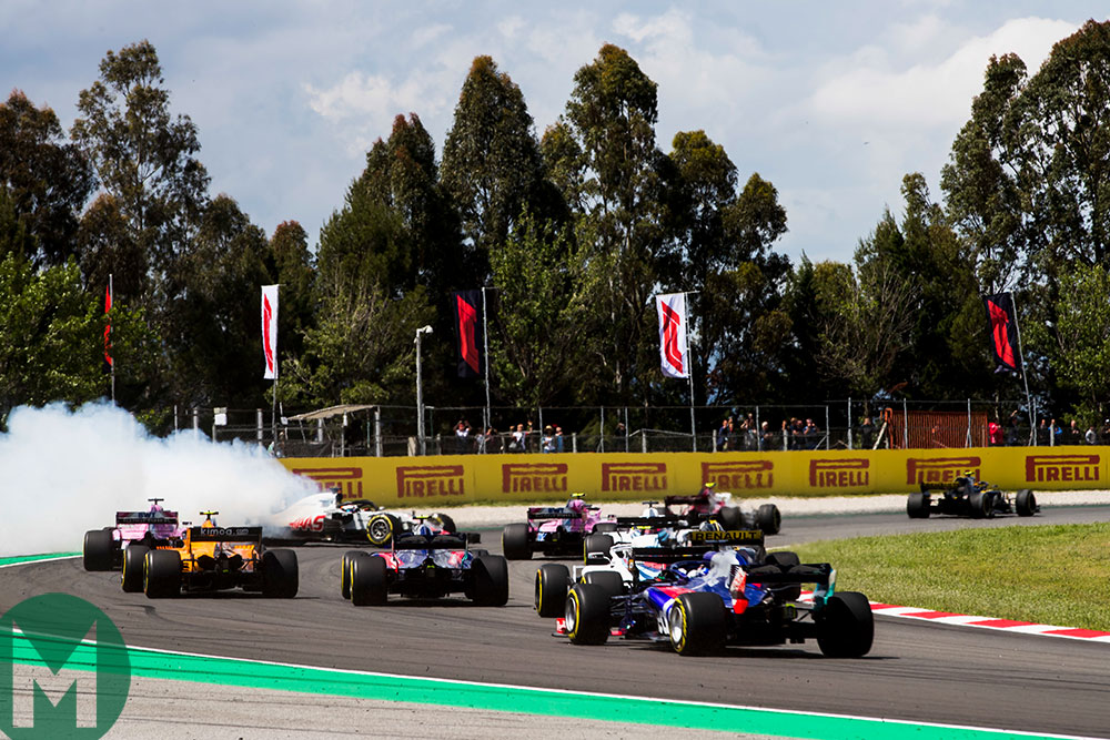 Romain Grosjean crash Spain F1