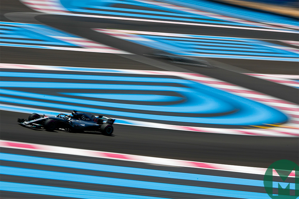 Lewis Hamilton on the way to fastest in Free Practice in the French Grand Prix