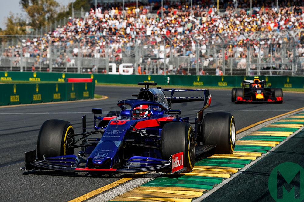 Daniil Kvyat in the Toro Rosso leads Pierre Galsy in the Red Bull in the 2019 Australian GP