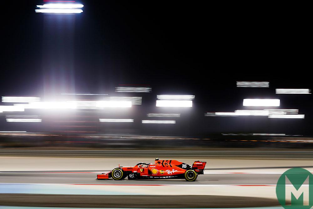Charles Leclerc in the 2019 Bahrain GP for Ferrari
