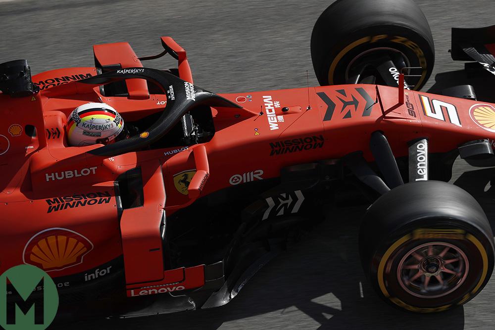Sebastian Vettel in his Ferrari in the opening day on F1 2019 preseason testing