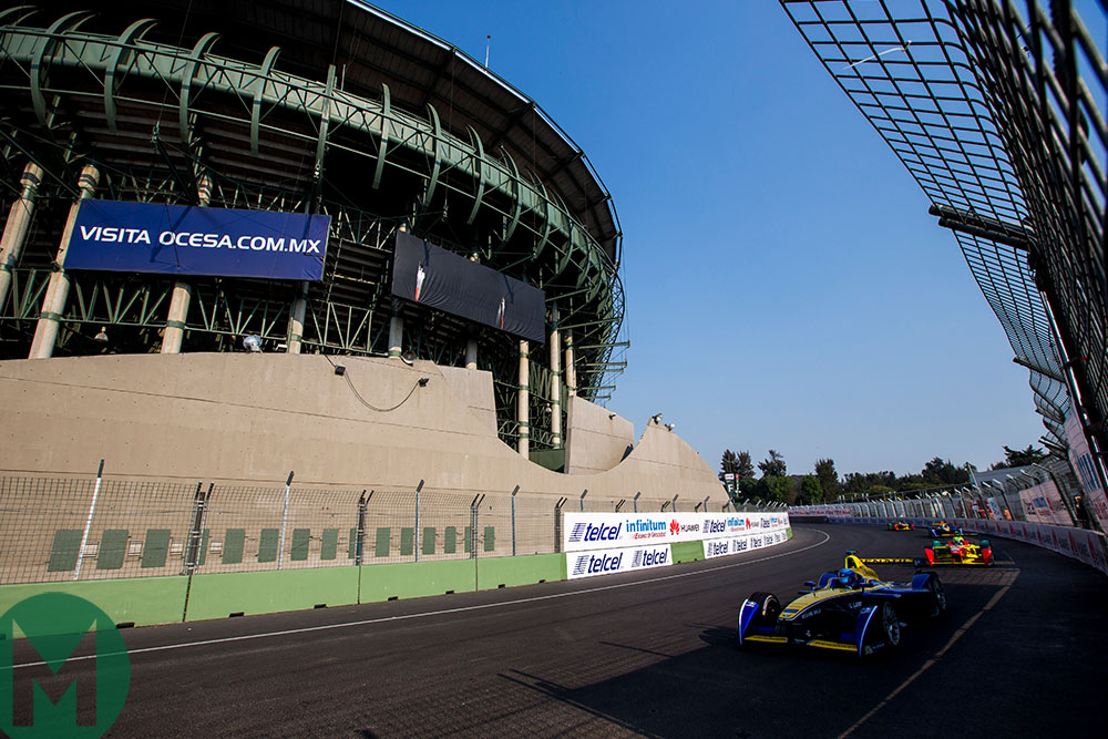 Nicolas Prost in an Renault e.dams in the 2015-16 Mexico ePrix