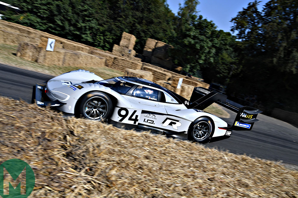 Romain Dumas in the electric Volkswagen I.D. R Pikes Peak car sets a stunning mark at the 2018 Goodwood Festival of Speed