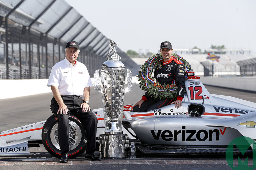 Will Power and Roger Penske celebrate 2018 Indy 500 victory