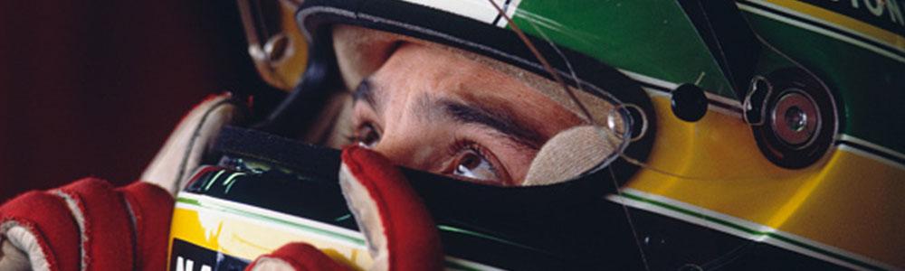 Aryton Senna helmet profile shot