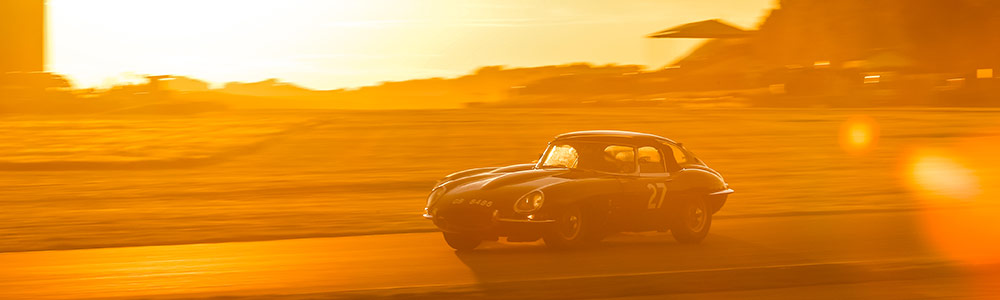 Jaguar E-type on track at Goodwood motor circuit
