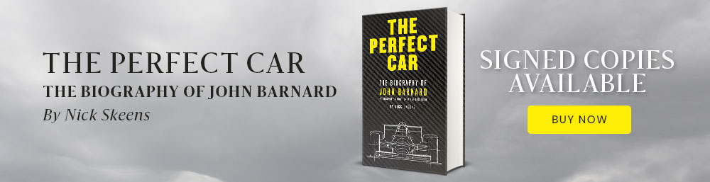 signed copy of The perfect car, biography of John barnard, by Nick Skeens