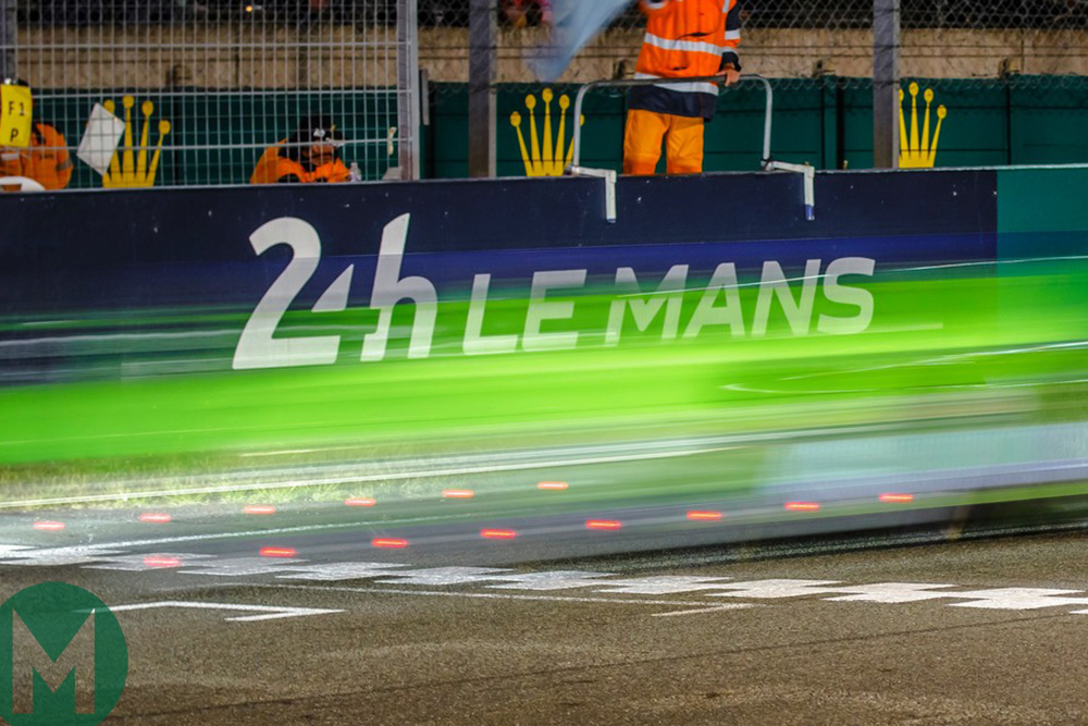 Car passes the Le Mans finish line, 2015, long exposure. Photo courtesy of Rolex