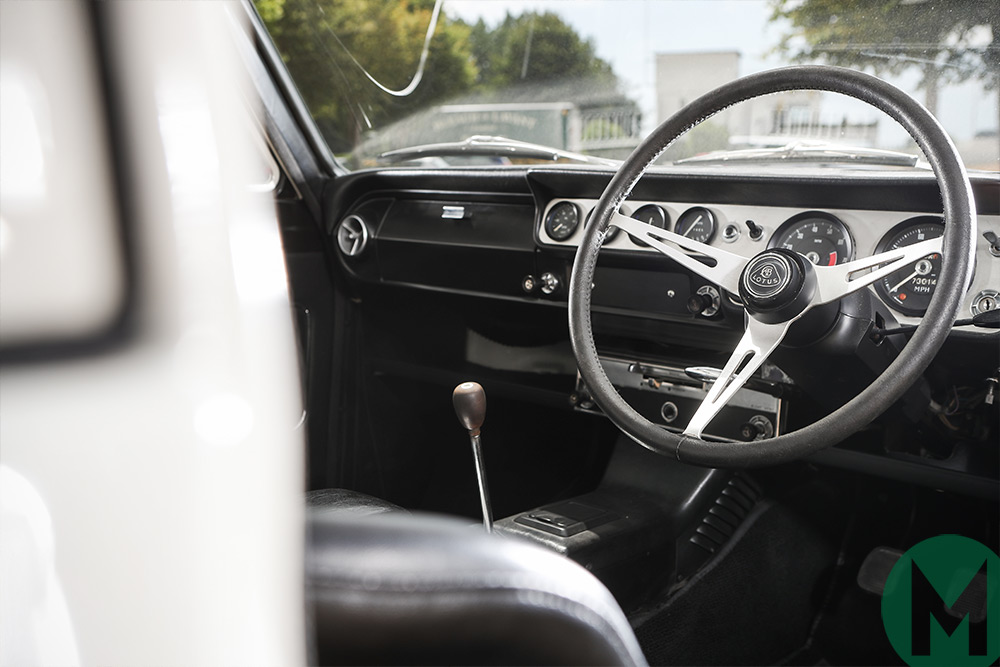 Inside the ex-Jim Clark Lotus Cortina
