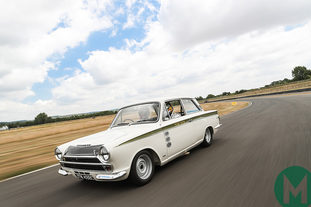 Seb and Andy Priaulx test the ex-Jim Clark Lotus Cortina