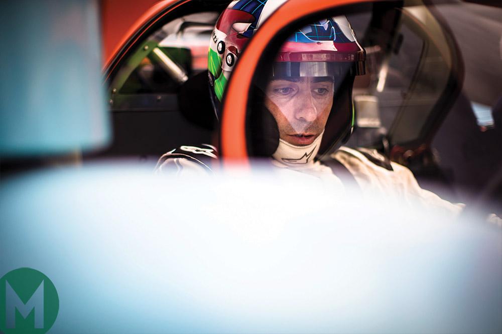 Dario Franchitti in the cockpit of Porsche 917K