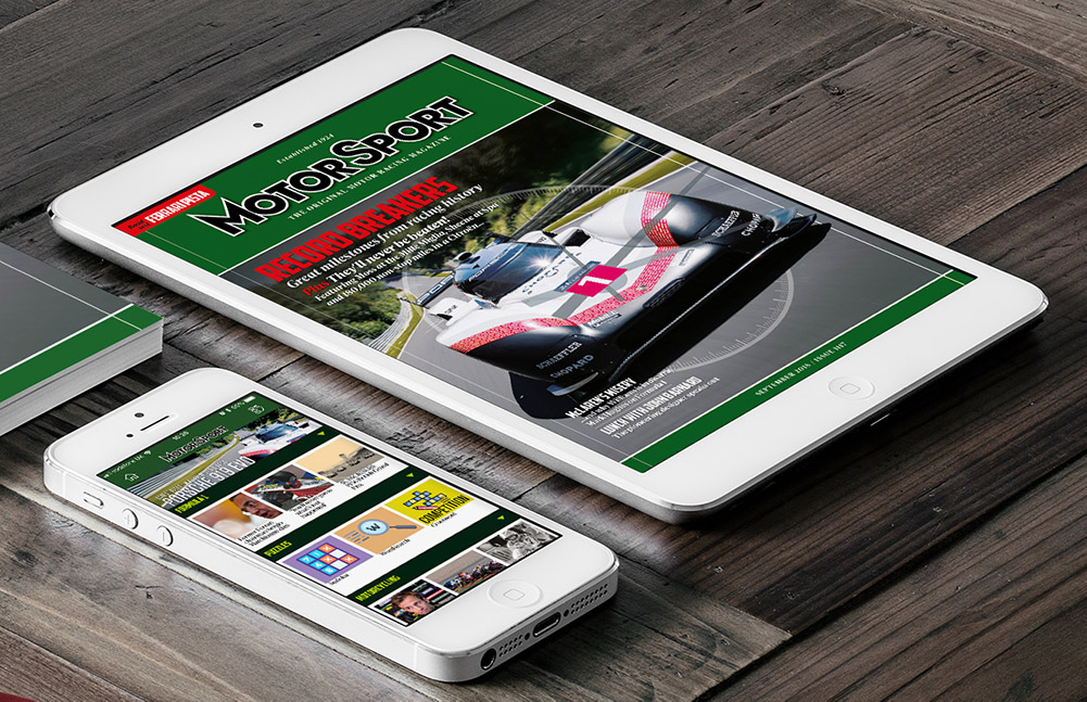 The Motor Sport app on Apple and Android devices
