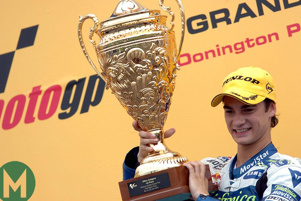 Pedrosa, podium, Donington 2006