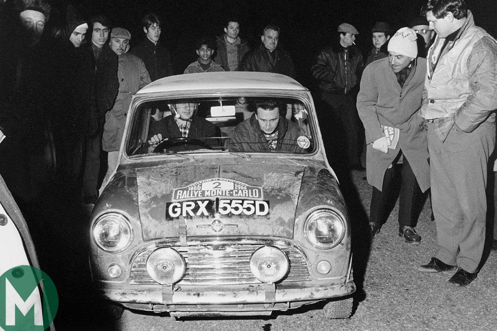 Timo Makinen in a Mini Cooper in the 1966 Monte Carlo Rally
