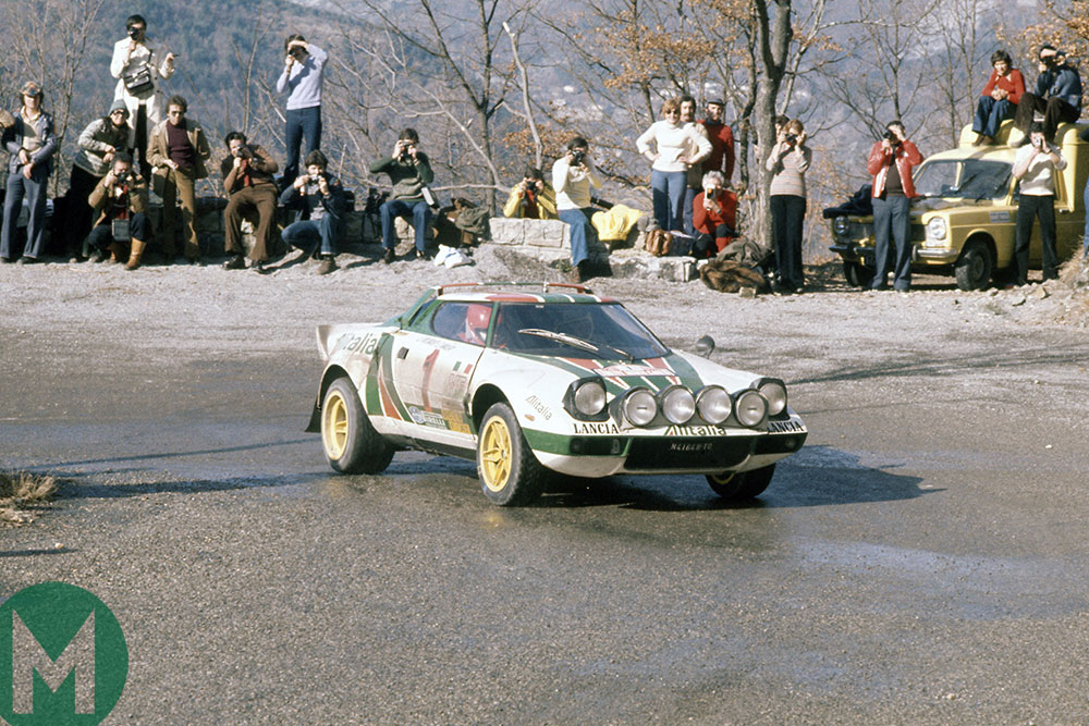 Sandro Munari taking the Lancia Stratos to victory in the 1977 Monte Carlo Rally