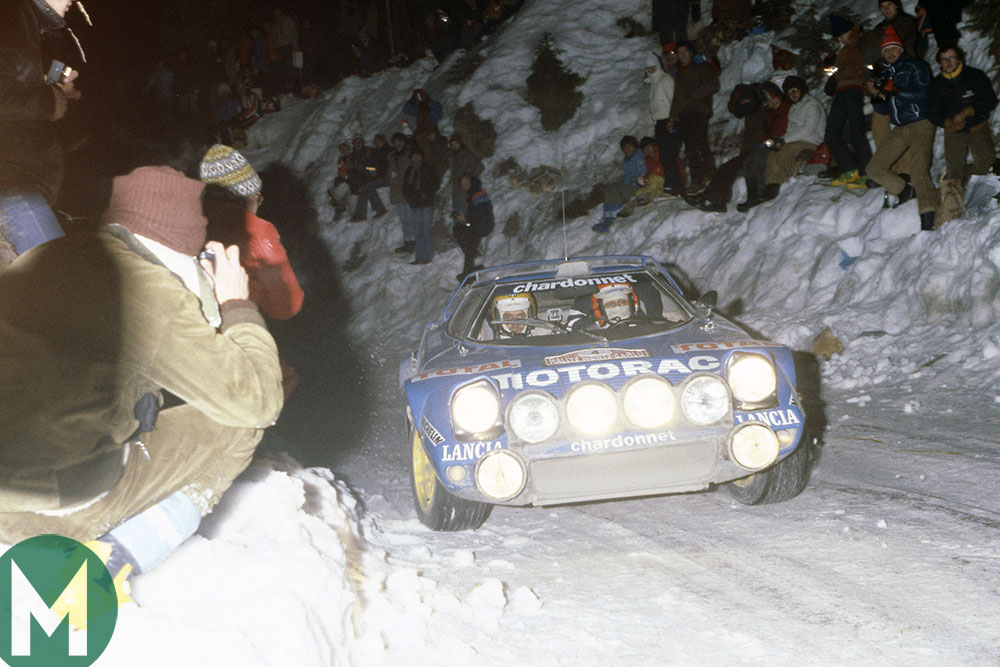 Bernard Darniche in a Lancia Stratos on the way to victory in the 1979 Monte Carlo Rally